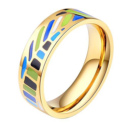 Women's Stainless Steel Enamel Bohemian Leaf Pattern Band Ring,Size 7