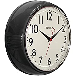 Westclox Black 32042BK 1950's Retro Case Convex Glass Clock, 9.5-Inch