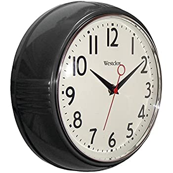 Westclox 32042bk 1950's Retro Black Case Convex Glass Clock, 9.5-inch 0
