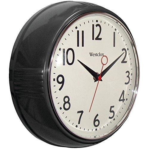Westclox 32042BK 1950's Retro Black Case Convex Glass Clock, 9.5-Inch ()