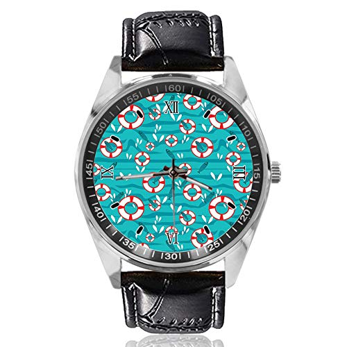 Waves and Fish On Sea Wrist Watch Custom Design Analog Quartz Watches Silver Dial Classic Leather Band Women's Men's ()
