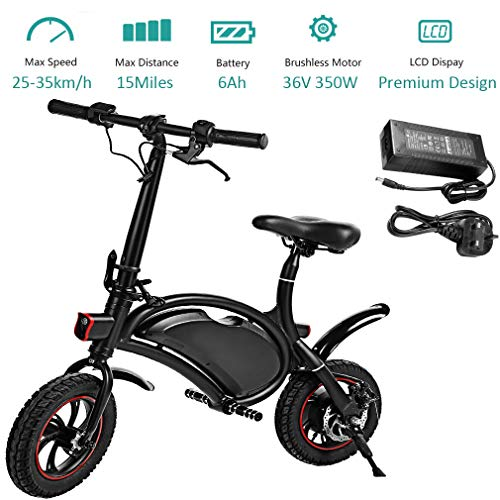 350W Folding Electric Bicycle with 15Mile Range Collapsible Lightweight Aluminum E-Bike Built-in 36V 6AH Lithium-Ion Battery, APP Speed Setting and Handlebar Display (Black-6AH)