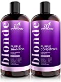 ArtNaturals Purple Shampoo and Conditioner Set for Blonde Hair - Sulfate Free & No Parabens Color Toning Gray, Silver, Brunette, Highlights, Dyed & Bleached Hairs - Prevents Brassy Yellow - (2 X 16oz)