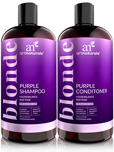 ArtNaturals Purple Shampoo and Conditioner Set - (2 x 16 Fl Oz / 473ml) - Protects, Balances and Tones - Bleached, Color Treated, Silver, Brassy and Blonde Hair - Sulfate Free (Best Purple Shampoo For Blonde Color Treated Hair)
