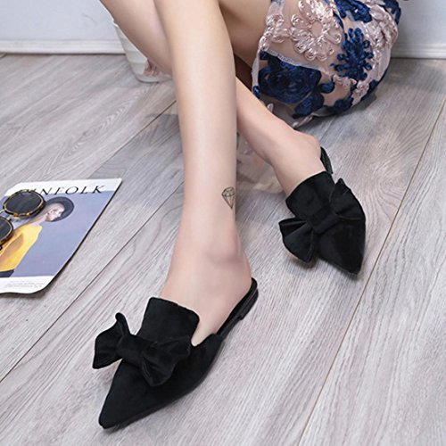 Solid Pointed Toe Bow Fheaven Black Flat Loafers Color Sandals Womens Slipper qp4POa