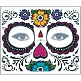 Jinjiums Tattoos,2PCS Day The Dead Temporary Cool Face Mask Sugar Skull Tattoo Beauty Halloween Party (A)