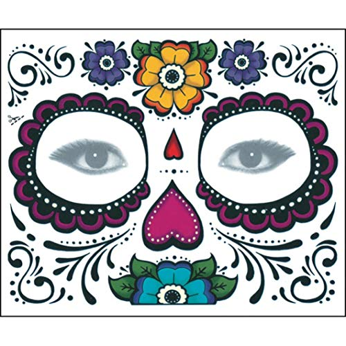 Jinjiums Tattoos,2PCS Day The Dead Temporary Cool Face Mask Sugar Skull Tattoo Beauty Halloween Party -