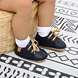 SOFMUO Baby Boys Girls Lace Up Leather Sneakers