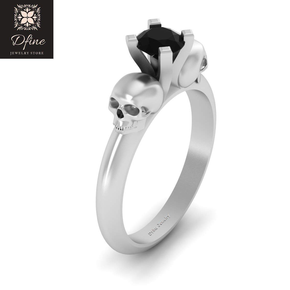 Amazon Black Onyx Skull Gothic Engagement Ring Solitaire Wedding Solid 10k White Gold Handmade: Gothic Wedding Rings Gold At Reisefeber.org