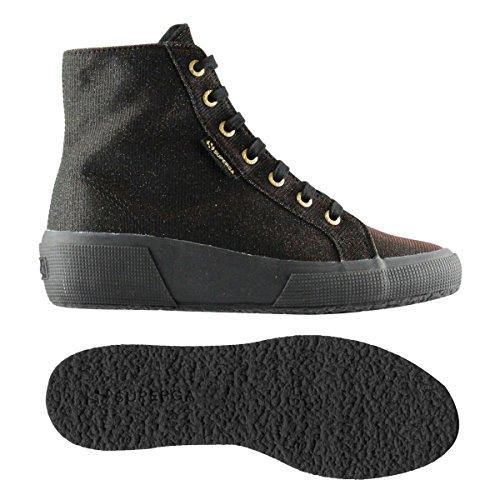 Superga 2296-Jerseysunshinew - Zapatillas de tela para mujer Negro FULL METAL BLACK