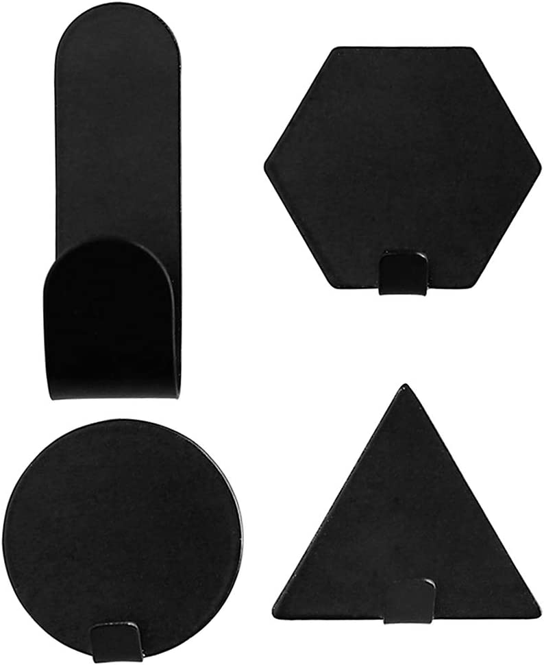 BIlinl 4 Unids Geom/étrico Adhesivo de Hierro Montado En La Pared Etiqueta Gancho Titular de Suspensi/ón de Suministros para el Hogar Blanco