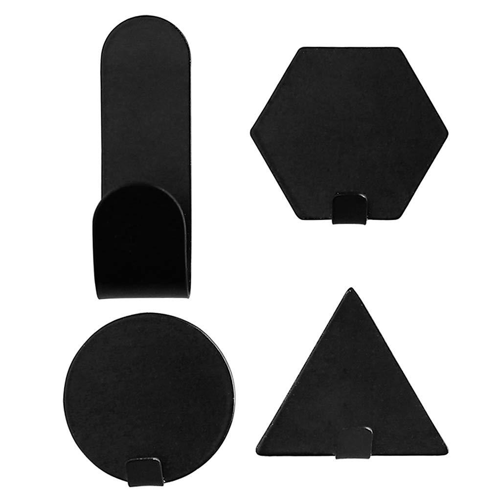 UOTA - 4 ganchos de pared con adhesivo de hierro geomé trico para colgar en el hogar, blanco