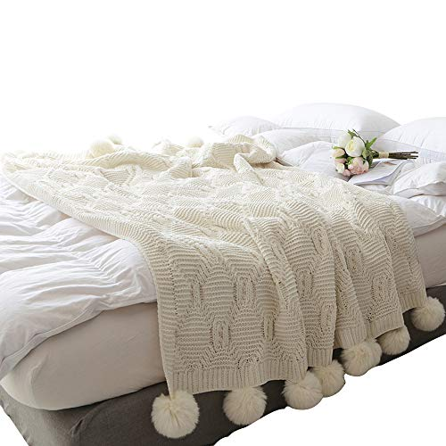 Pom Pom Accent Knit - ZHIMIAN Acrylic Chenille Pompoms Fringe Throw Blanket 51