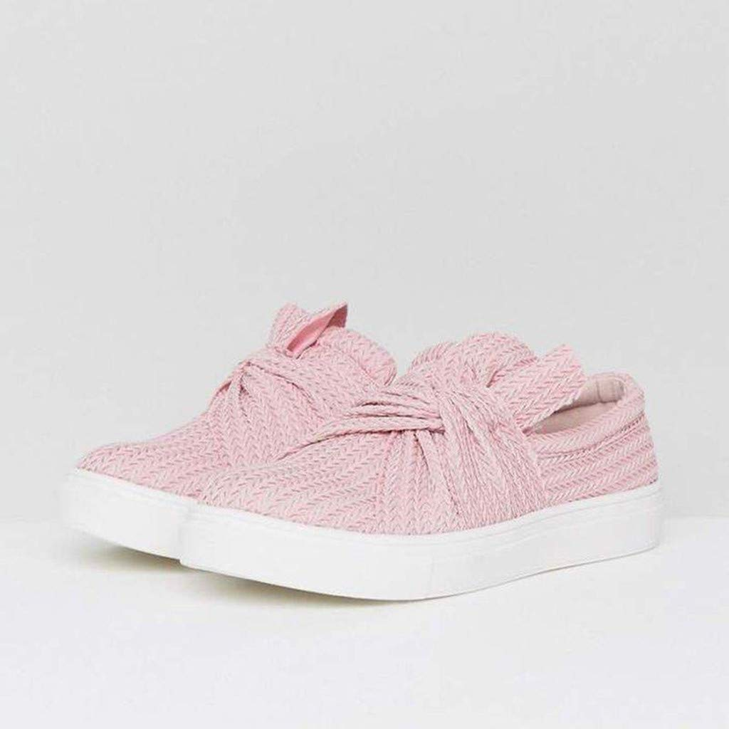 Sandals for Women THENLIAN Women Bow Casual Solid Fashion Bowknot Casual Loafers Roman Cloth Shoes(41, Pink)