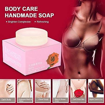 Jabón para aclarar la piel, piel de cristal para lactancia Axila para pezones Blanquear y blanquear Jabón rosado a mano 80g