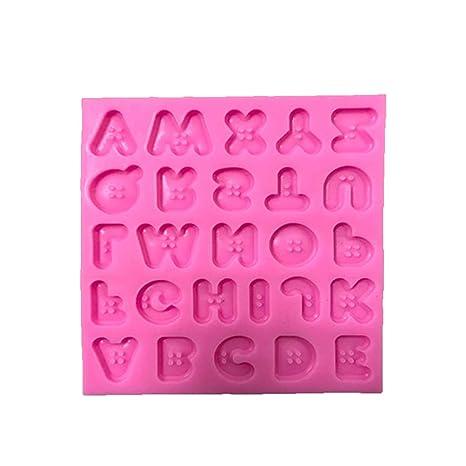 BESTONZON Moldes para Pastel de Silicona Botón Letras de Forma Jabón Caramelo de Chocolate Fondant Molde