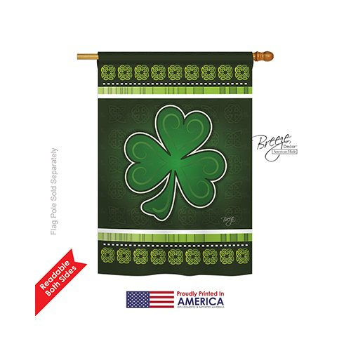Breeze Decor – Shamrock Spring – Seasonal St Patrick Impressions Decorative Vertical House Flag 28″ x 40″ Review