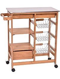 Giantex Bamboo Rolling Kitchen Island Trolley Cart Storage Shelf Drawers  Basket Dining