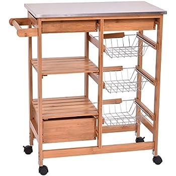 Amazon.Com - Topeakmart Portable Rolling Drop Leaf Kitchen Island