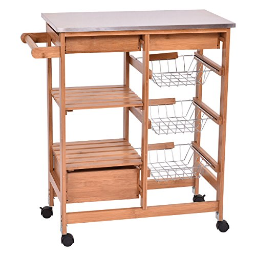 Giantex Bamboo Rolling Kitchen Island Trolley Cart Storage Shelf Drawers Basket Dining (Kitchen Island Bamboo)