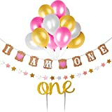 Baby First Birthday Cake Topper Decoration 'I Am One' 1st Birthday Decoration Banner, Pink Birthday Decoration Set for Baby Girl with 12 Pieces Party Balloons, 'one' Cupcake Toppers, One Stars Banner