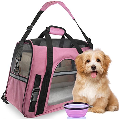 Premium Pet Travel Carrier, Airline Approved, Soft Sided with Fleece Bed Mats, Perfect for Small Dogs, Cats, Birds, Rabbits, and Chicken. (Pink)
