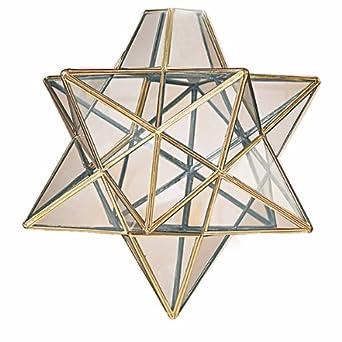 Moravian Star Clear Glass Antique Brass Ceiling Light
