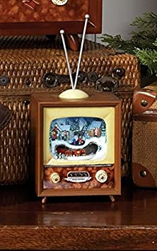 Animated Holiday Musical Retro Television TV 10-in RAZ Imports 3516162 Brown