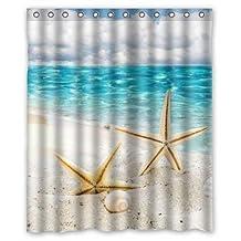 "Starfish Coast Sea Shells Beach Sand Clouds Nature Custom Fashion Waterproof Fabric Bath Shower Curtain 60"" x 72"""
