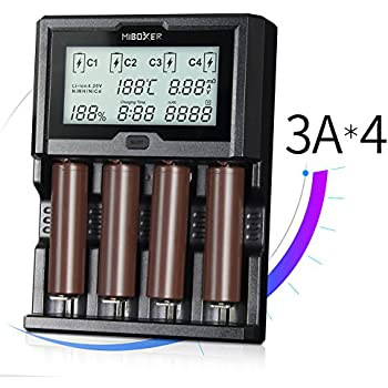 Miboxer C4-12 Smart Battery 18650 265650 Charger 4-Slot LCD Screen 3.0A/slot total 12A simultaneously for Li-ion/IMR/INR/ICR/Ni-MH/Ni-Cd rechargeable batteries