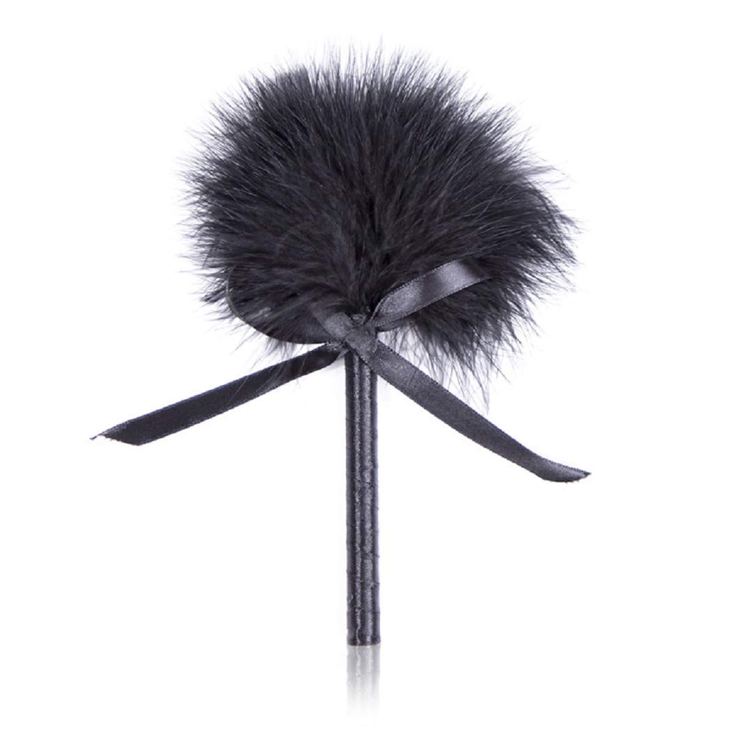 HIPLAYGIRL Fairy Knot-Bow Fluffy Feathers Wand - Soft Feather Furry Ball, Satin Handle Stick (Black)