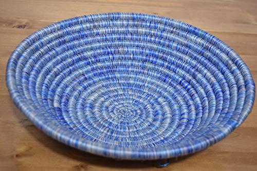 Hand Woven African Basket - Decorative Woven Bowl - Sisal & Sweetgrass Basket Handmade in Rwanda ~11'' - White, Different shades of Blue, - Hand Basket Africa Woven