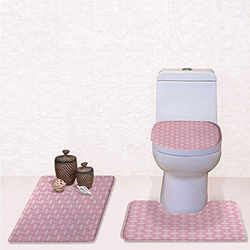 Print 3 Pcss Bathroom Rug Set Contour Mat Toilet Seat Cover,Big and Small Retro Polka Dots with Soft Colored Artful and Feminine Design with Rose Pale Pink,decorate bathroom,entrance door,kitchen,b ()