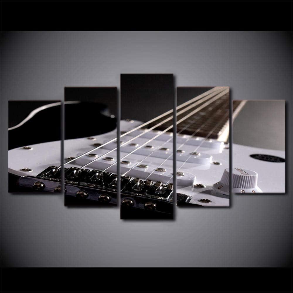 72Tdfc - Decoración Hogareña Cuadro En Lienzo - Impresión De 5 Piezas Material Tejido - Cuerdas De Guitarra Electrica - No Tejido Impresión Artística Imagen Gráfica Decoracion De Pared