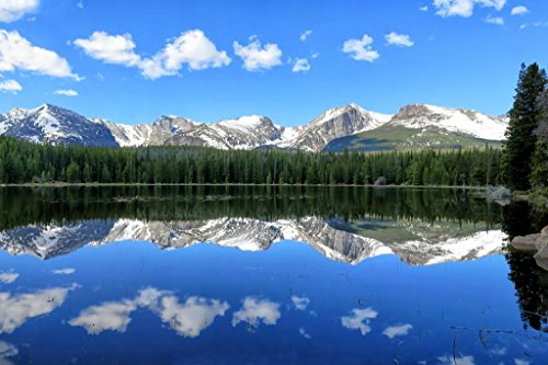 Bierstadt Lake Reflection Colorado Mountains Photo Art Print Mural Giant Poster 54x36 inch Bierstadt The Rocky Mountains