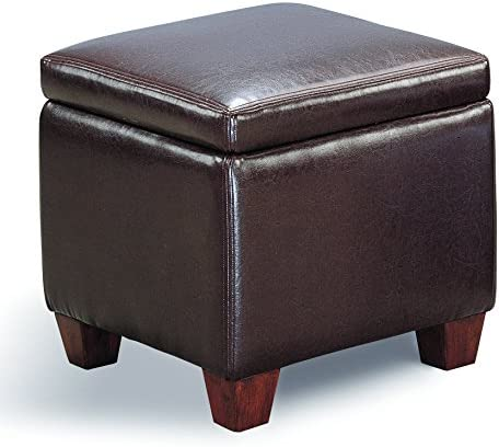 Coaster Home Furnishings Cube Shaped Storage Ottoman Dark Brown