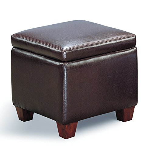 Coaster Home Furnishings Cube Shaped Storage Ottoman Dark Brown -