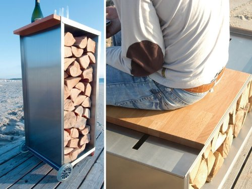 Radius Design Brennholzwagen als Tisch oder Sitzgelegenheit