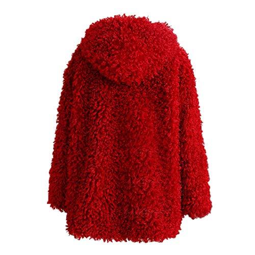 felpa con invierno con Outwear de mujer Chaqueta cremallera capucha de de abrigo Chaqueta Ropa de piel sintética de Desgastar piel de Rcdxing gruesa Red con manga larga qOpUwU