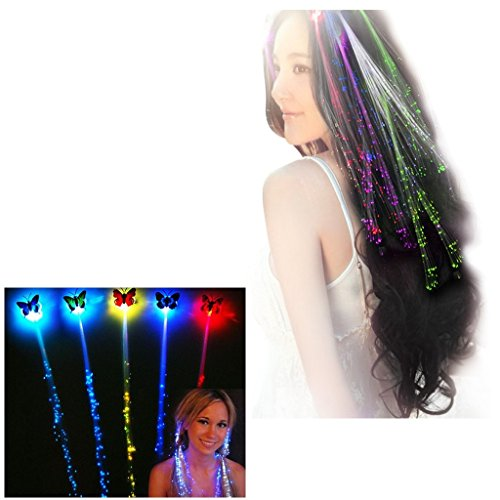 Akiimy 20 Packs Colorfull Flashing Led Hair Clips Hair Extension Optics led hair lights led Light Up Party Hairpin light up hair Accessories Glow in the Dark Hair Extensions Led Party Supplies