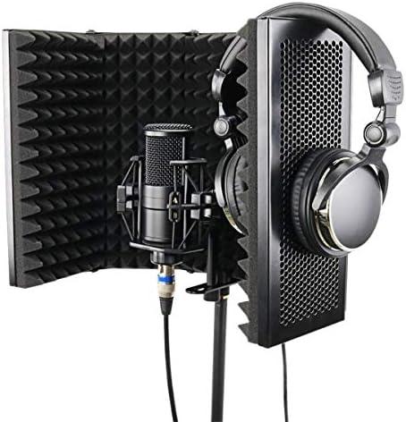 スピーカーカラオケマシン 折り畳み式の調節可能なスタジオレコーディングマイクアイソレータ吸音フォームパネルのマイク分離シールドマウントブラックスタンド カラオケの歌唱ステージと野外活動のために (Color : Black, Size : 57.5x28cm)
