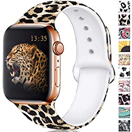 Haveda Floral Bands Compatible for Apple Watch 40mm 44mm Series 4 Series 5, Soft Silicone Pattern Pr