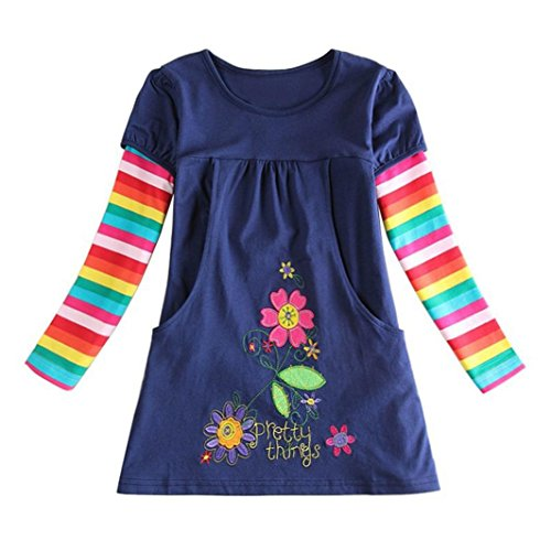 TRENDINAO Infant Girls Flower Print Embroidery Casual Dress