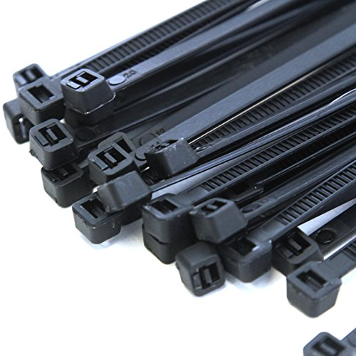 500-Pack Heavy Duty 14 Inches (50lbs) Zip Cable Tie Down Strap Wire UV Black Nylon Wrap