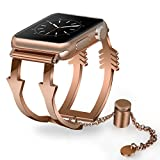 Apple Watch Bands 38mm Women Ladies, V-Moro Luxury Apple Watch Jewelry Cuff Stainless Steel Metal Bracelet Strap Wristbands for Apple Watch Series 3,2,1,Sport (Arrow-Rose Gold, 38mm(5.5''-8.26''))