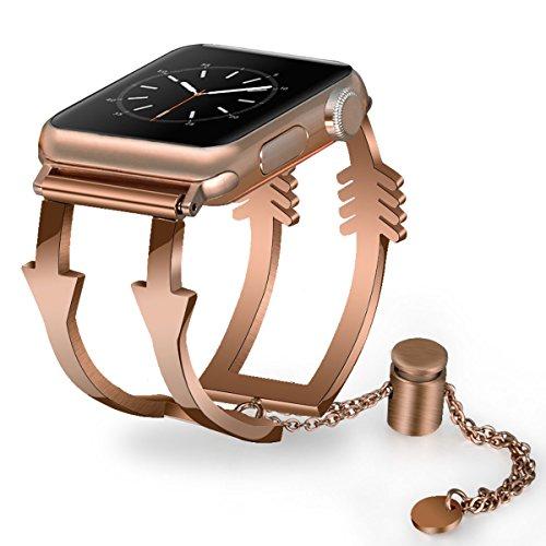 Gold Bracelet Jewelry Watch (Apple Watch Bands 38mm Women Ladies, V-Moro Luxury Apple Watch Jewelry Cuff Stainless Steel Metal Bracelet Strap Wristbands for Apple Watch Series 3,2,1,Sport (Arrow-Rose Gold, 38mm(5.5''-8.26'')))