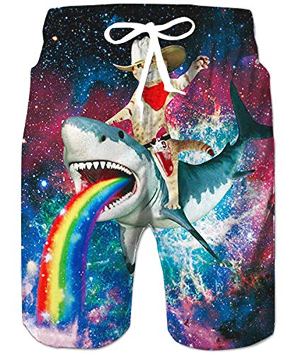 Loveternal Mens Colorful Swim Trunks Surf FunnyShorts Shark Rainbow Print Hawaiian Boardshortswith Liner Small