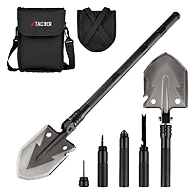 Tac9er Tactical Multitool 15-in-1 Shovel - Portable, Compact, Military Steel Shovel with Carrying Pouch for Camping, Survival, Backpacking, Emergency from Tac9er