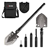Tac9er Tactical Multitool 15-in-1 Shovel - Portable Compact Military Steel Shovel with Carrying Pouch for Camping Survival Backpacking Emergency