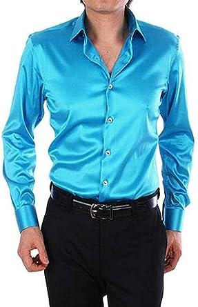 Camisas De Hombre De Camisa De Casual Moda Brilla Modernas Seda Regular Fit Negocios Tops Colores Sólidos Botón De Solapa De Manga Larga Superior Formal Delgado Office Basic Blusas Primavera Otoño 20: